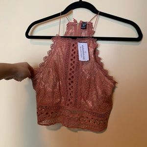 Windsor mauve lace top with thin straps and zipper